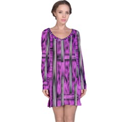 Purple Lace Landscape Abstract Shimmering Lovely In The Dark Long Sleeve Nightdress