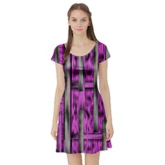 Purple Lace Landscape Abstract Shimmering Lovely In The Dark Short Sleeve Skater Dress