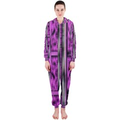 Purple Lace Landscape Abstract Shimmering Lovely In The Dark Hooded Jumpsuit (Ladies)