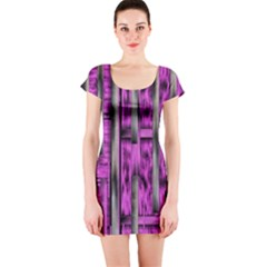 Purple Lace Landscape Abstract Shimmering Lovely In The Dark Short Sleeve Bodycon Dress