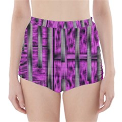 Purple Lace Landscape Abstract Shimmering Lovely In The Dark High Waisted Bikini Bottoms