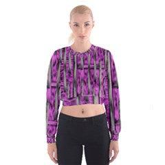 Purple Lace Landscape Abstract Shimmering Lovely In The Dark Women s Cropped Sweatshirt