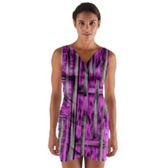 Purple Lace Landscape Abstract Shimmering Lovely In The Dark Wrap Front Bodycon Dress