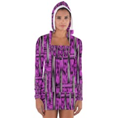 Purple Lace Landscape Abstract Shimmering Lovely In The Dark Women s Long Sleeve Hooded T-shirt