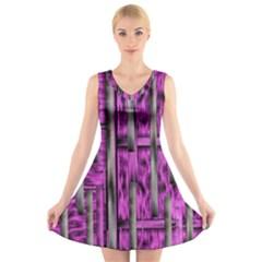 Purple Lace Landscape Abstract Shimmering Lovely In The Dark V-Neck Sleeveless Skater Dress