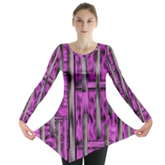 Purple Lace Landscape Abstract Shimmering Lovely In The Dark Long Sleeve Tunic