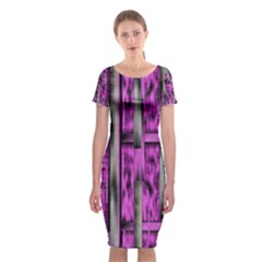 Purple Lace Landscape Abstract Shimmering Lovely In The Dark Classic Short Sleeve Midi Dress