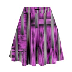 Purple Lace Landscape Abstract Shimmering Lovely In The Dark High Waist Skirt
