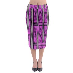 Purple Lace Landscape Abstract Shimmering Lovely In The Dark Midi Pencil Skirt