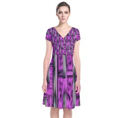 Purple Lace Landscape Abstract Shimmering Lovely In The Dark Short Sleeve Front Wrap Dress