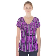 Purple Lace Landscape Abstract Shimmering Lovely In The Dark Short Sleeve Front Detail Top
