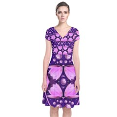 Magic Lotus In A Landscape Temple Of Love And Sun Short Sleeve Front Wrap Dress