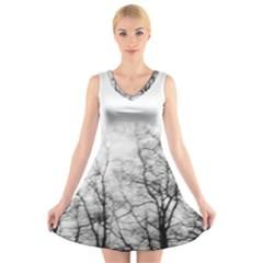 Tree Tops V-Neck Sleeveless Skater Dress