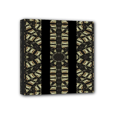 Vertical Stripes Tribal Print Mini Canvas 4  x 4