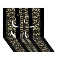 Vertical Stripes Tribal Print Clover 3D Greeting Card (7x5)