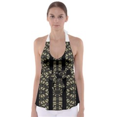 Vertical Stripes Tribal Print Babydoll Tankini Top