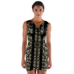 Vertical Stripes Tribal Print Wrap Front Bodycon Dress