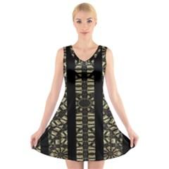 Vertical Stripes Tribal Print V Neck Sleeveless Skater Dress
