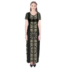 Vertical Stripes Tribal Print Short Sleeve Maxi Dress