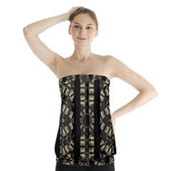 Vertical Stripes Tribal Print Strapless Top