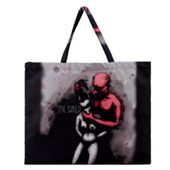 Be Scared Zipper Large Tote Bag