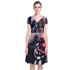 Be Scared Short Sleeve Front Wrap Dress