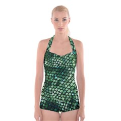 Dragon Scales Boyleg Halter Swimsuit