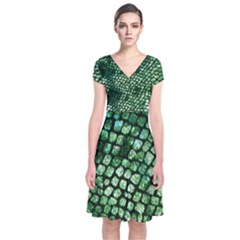 Dragon Scales Short Sleeve Front Wrap Dress