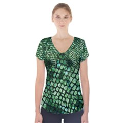 Dragon Scales Short Sleeve Front Detail Top