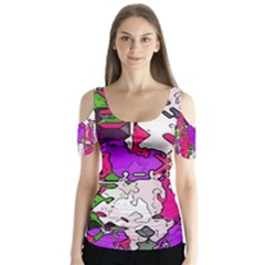Ink Shapes          Butterfly Sleeve Cutout Tee