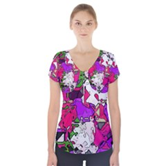 Ink shapes          Short Sleeve Front Detail Top