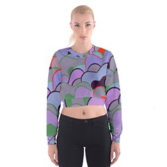 Wavy Shapes Pieces                                                                            Women s Cropped Sweatshirt