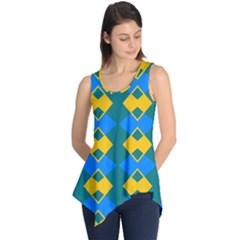 Blue Yellow Rhombus Pattern                                                                           Sleeveless Tunic