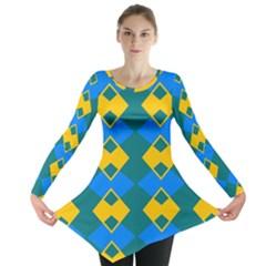 Blue Yellow Rhombus Pattern                                                                           Long Sleeve Tunic