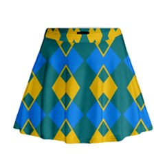 Blue Yellow Rhombus Pattern                                                                             Mini Flare Skirt