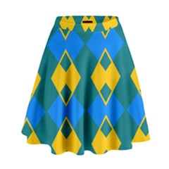 Blue Yellow Rhombus Pattern                                                                             High Waist Skirt