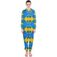 Blue yellow rhombus pattern                                                                           Hooded Jumpsuit (Ladies)