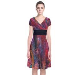 Fairy Tree Bark Short Sleeve Front Wrap Dress