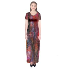 Fairy Tree Bark Short Sleeve Maxi Dress