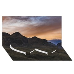 Sunset Scane at Cajas National Park in Cuenca Ecuador Twin Heart Bottom 3D Greeting Card (8x4)