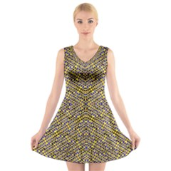 Bee Hive V-Neck Sleeveless Skater Dress