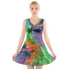 Reality Is Melting V Neck Sleeveless Skater Dress