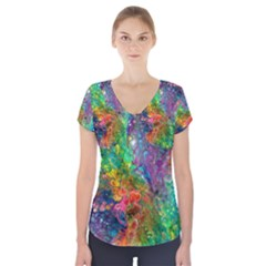 Reality Is Melting Short Sleeve Front Detail Top
