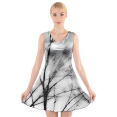 Misty Haze V-Neck Sleeveless Skater Dress