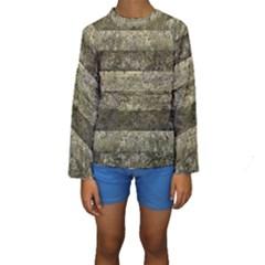 Grunge Stripes Print Kid s Long Sleeve Swimwear