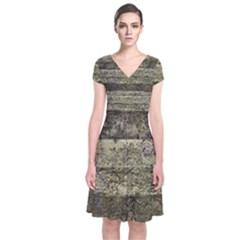 Grunge Stripes Print Short Sleeve Front Wrap Dress