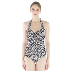 Charcoal Confetti Halter Swimsuit