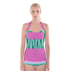 Watermelon Boyleg Halter Swimsuit