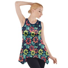Tropical Flowers Side Drop Tank Tunic