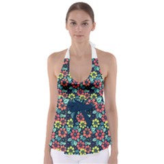Tropical Flowers Babydoll Tankini Top